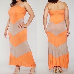 Plus Size Strapless Chevron Dress 2X 3X NWT